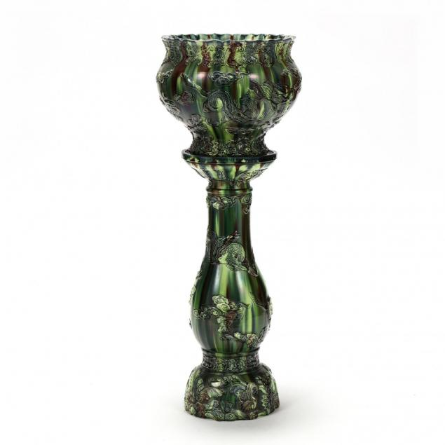 japanese-sancai-glazed-jardiniere-on-pedestal