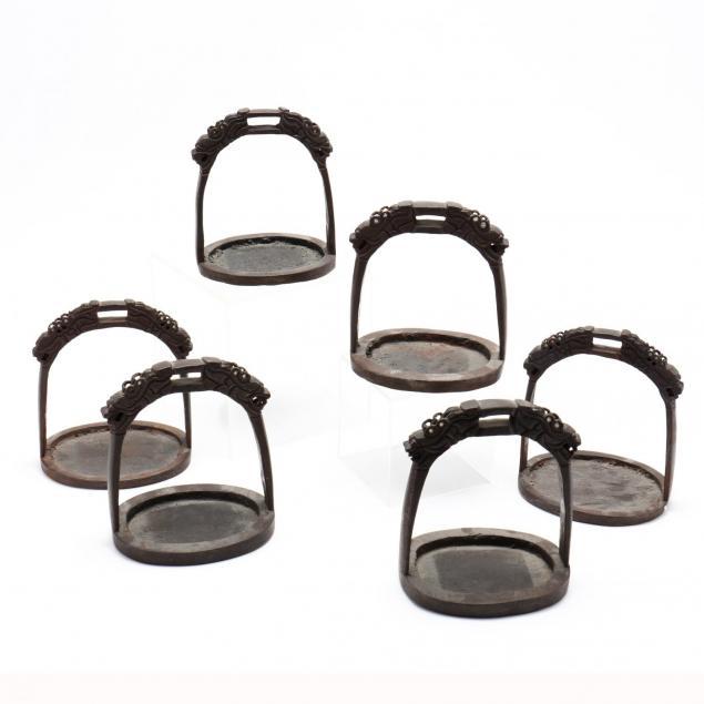 six-antique-chinese-inlaid-iron-stirrups