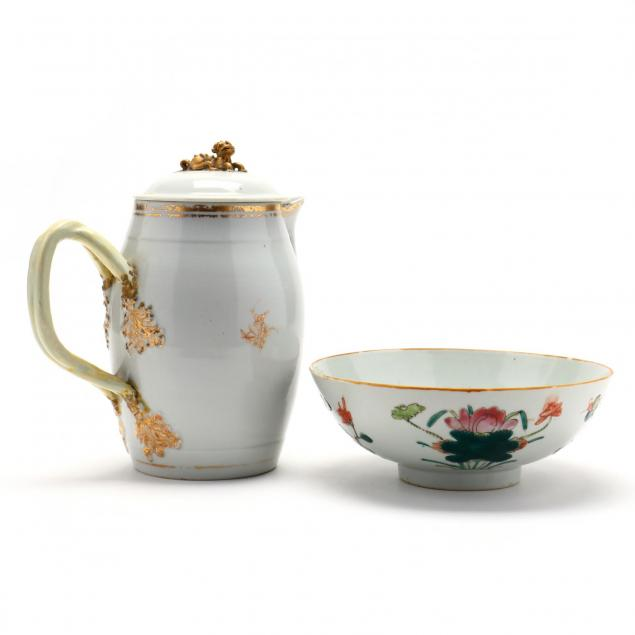 antique-chinese-export-pitcher-and-bowl