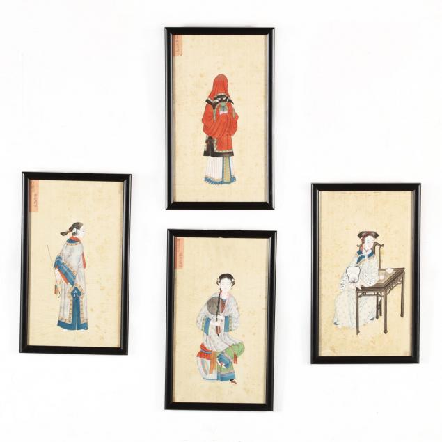 a-suite-of-four-antique-chinese-export-paintings-of-women
