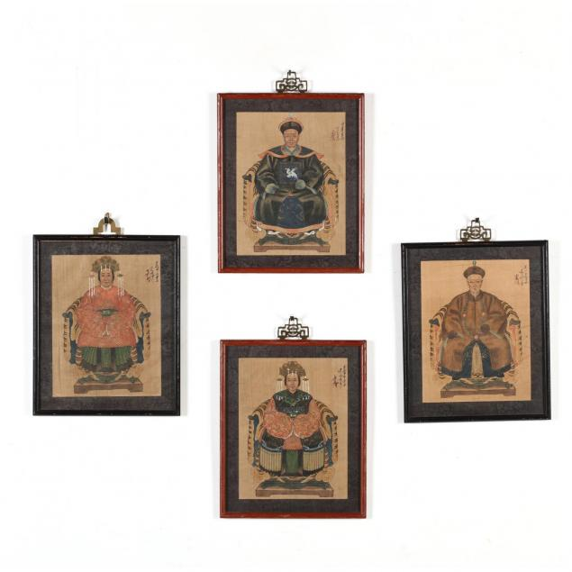 two-pairs-of-antique-chinese-ancestor-portraits
