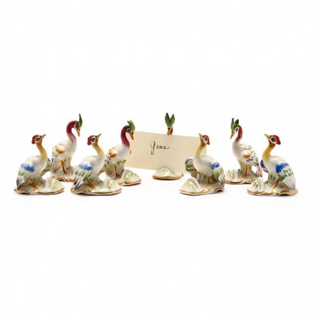 eight-german-porcelain-bird-place-card-holders