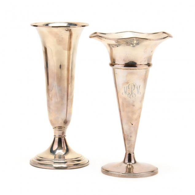 two-sterling-silver-trumpet-vases