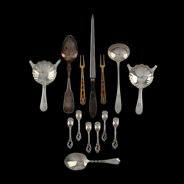 fourteen-sterling-silver-and-coin-silver-flatware-pieces