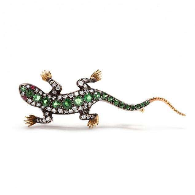 gold-diamond-tsavorite-garnet-and-ruby-salamander-brooch