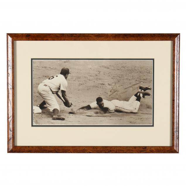 willie-mays-sliding-into-second-base-signed-photo