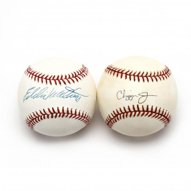 two-autographed-baseballs-chipper-jones-and-eddie-mathews