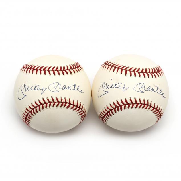 two-mickey-mantle-autographed-baseballs