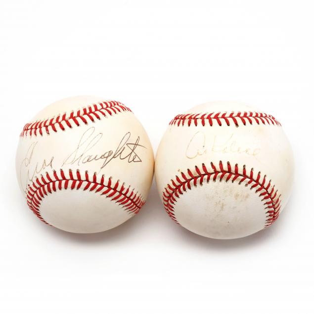 two-autographed-baseballs-al-kaline-and-enos-slaughter
