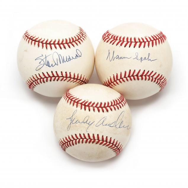 three-autographed-baseballs-warren-spahn-stan-musial-and-sparky-anderson