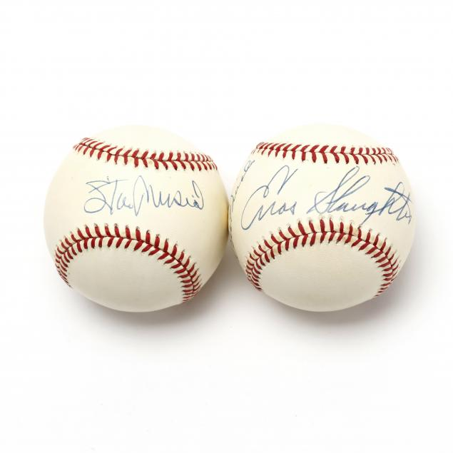 two-autographed-baseballs-enos-slaughter-and-stan-musial