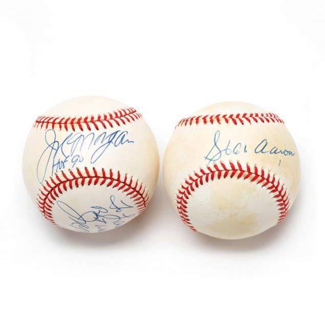 two-autographed-baseballs-hank-aaron-and-joe-morgan