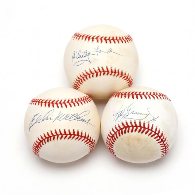three-autographed-baseballs-eddie-mathews-whitey-ford-and-ken-griffey-jr