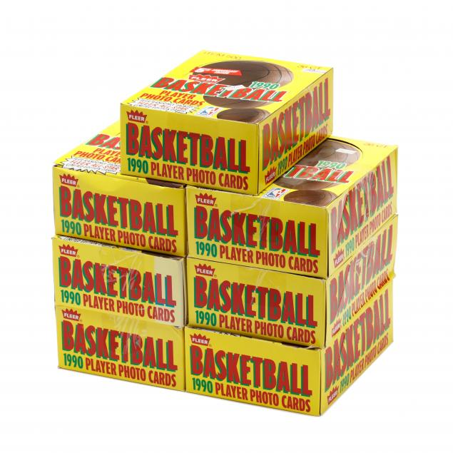 seven-1990-91-fleer-basketball-36-count-rack-pack-boxes