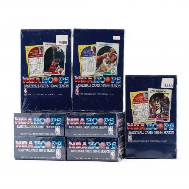 seven-1990-91-nba-hoops-basketball-card-boxes