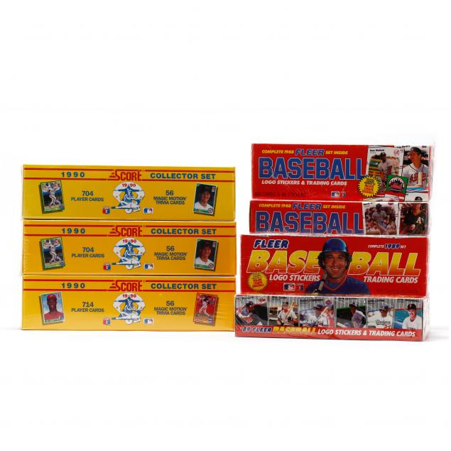 1988-1990-fleer-and-score-baseball-cards-eight-sealed-boxes