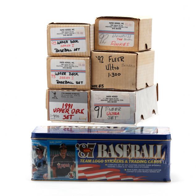 seven-1980-90s-boxed-baseball-cards-fleer-donruss-and-upper-deck