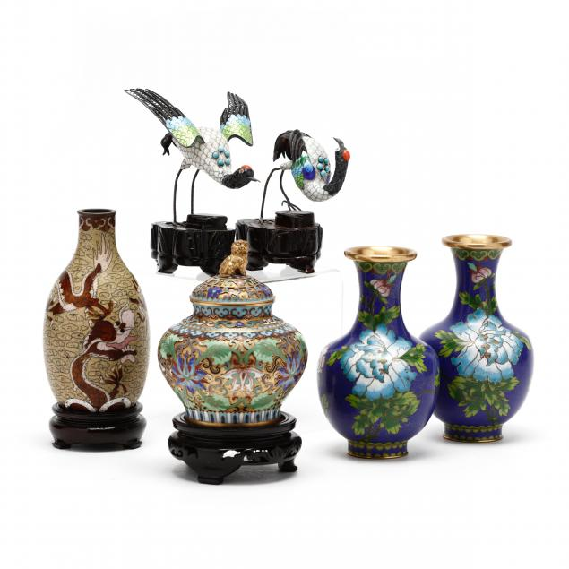 a-group-of-chinese-cloisonne-vases-and-cranes