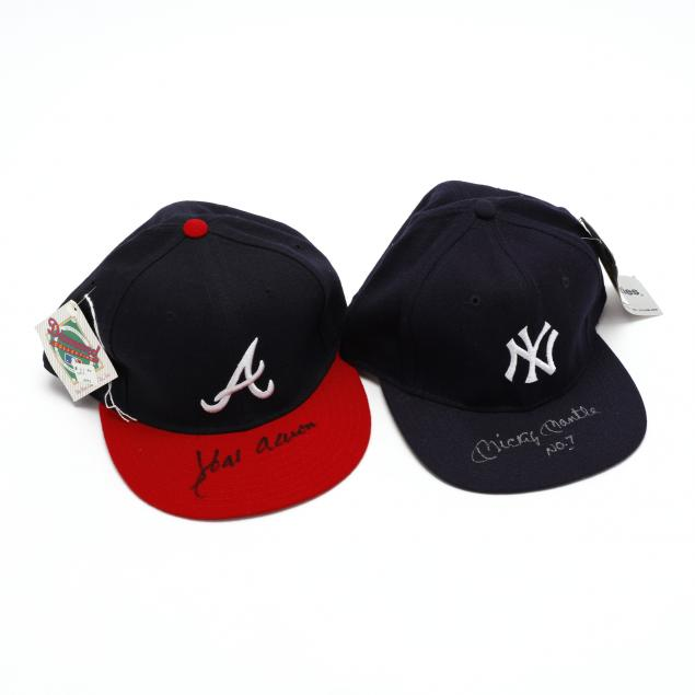 hank-aaron-and-mickey-mantle-autographed-caps