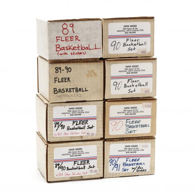 eight-fleer-1989-90-91-basketball-card-boxed-sets-with-stickers