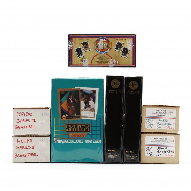 nine-boxes-of-1990-91-92-basketball-cards-fleer-skybox-upper-deck