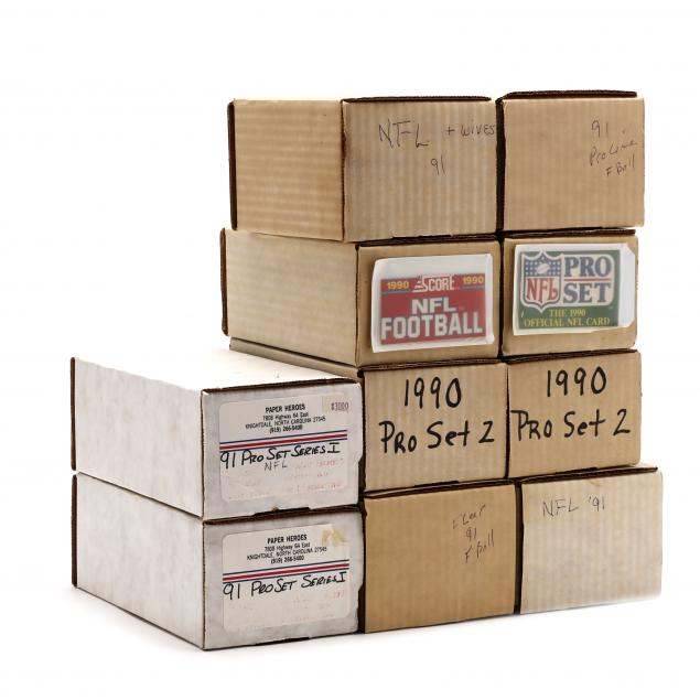 ten-1990-91-boxed-nfl-football-card-sets-fleer-score-pro-line