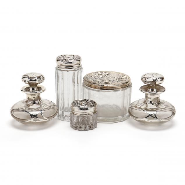 six-sterling-silver-glass-dresser-jars-and-bottles