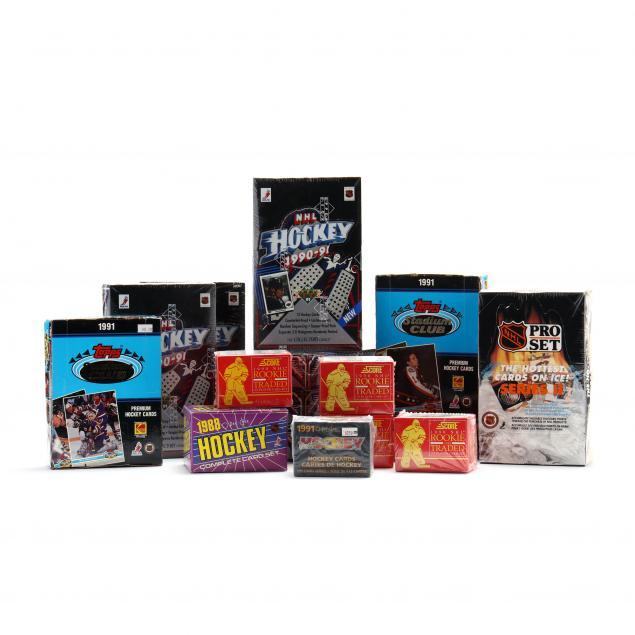 fifteen-1990-91-nhl-hockey-card-boxes-topps-opc-pro-set-upper-deck