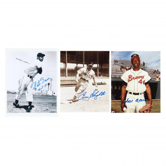 hank-aaron-monte-irvin-and-enos-slaughter-signed-photographs