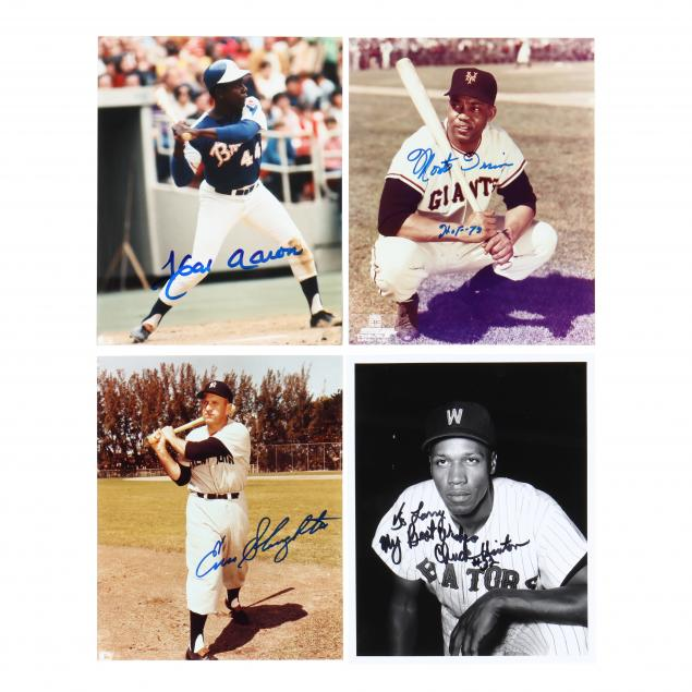 hank-aaron-monte-irvin-enos-slaughter-and-chuck-hinton-signed-photographs