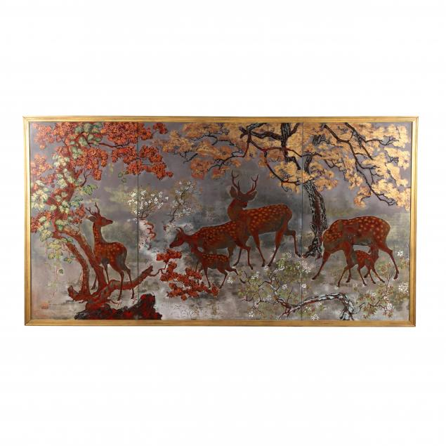 tran-dzu-hong-vietnamese-1922-2002-a-painting-of-deer-in-autumn-landscape
