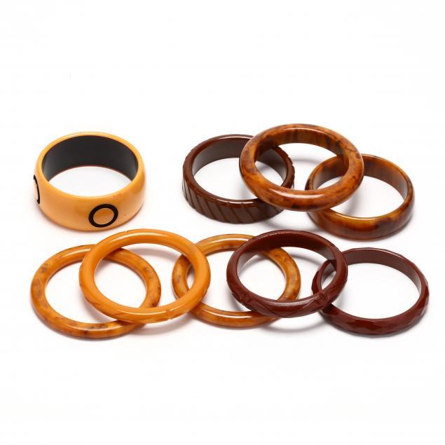 nine-brown-and-tan-bakelite-bangles