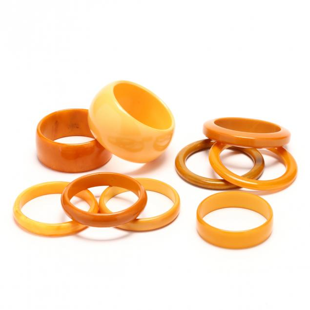 nine-tan-bakelite-bangles