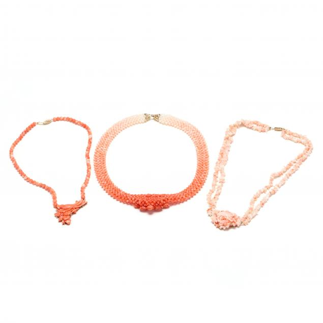 three-14kt-gold-coral-necklaces