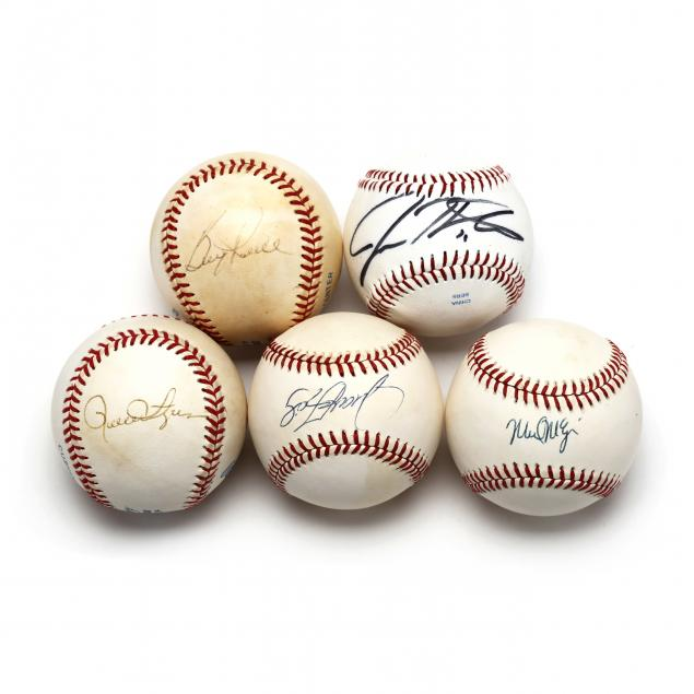 five-unidentified-autographed-official-baseballs