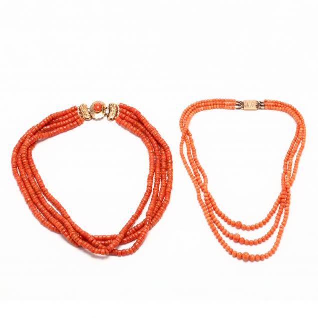 two-mult-strand-gold-and-coral-necklaces