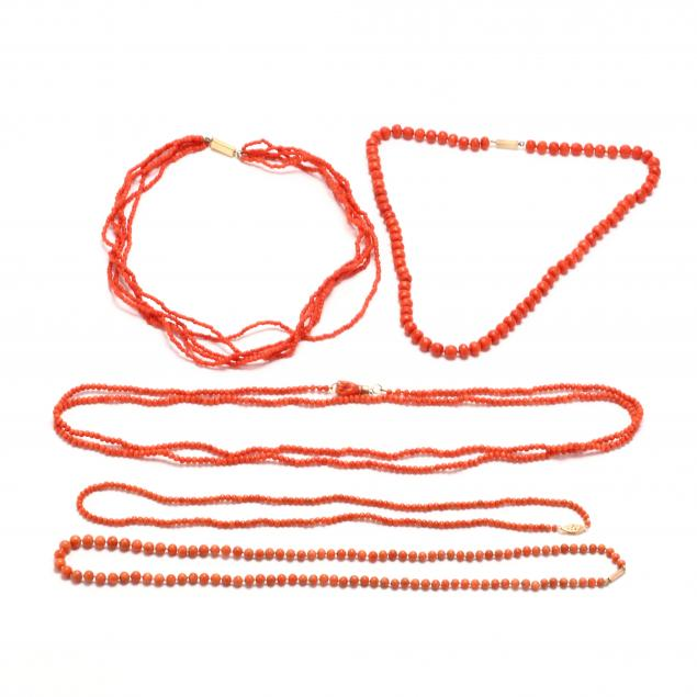 five-gold-and-coral-bead-necklaces