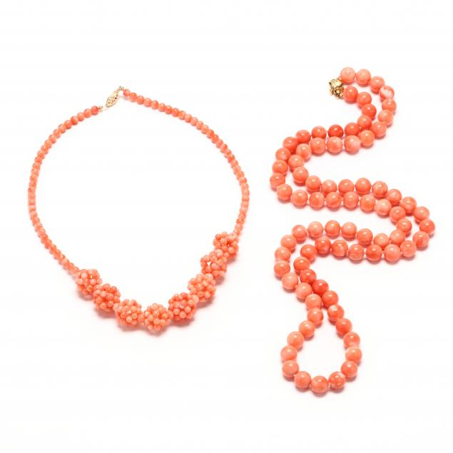 two-gold-and-coral-bead-necklaces