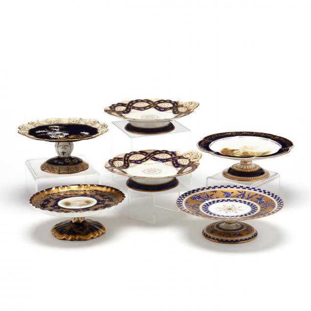 six-antique-cobalt-gilt-decorated-cake-stands