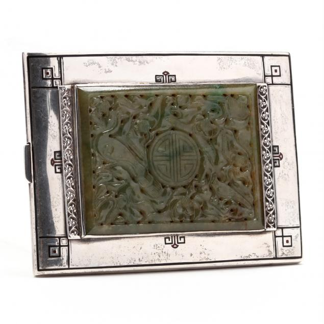 an-art-deco-enameled-sterling-silver-cigarette-case-with-jadeite-plaque
