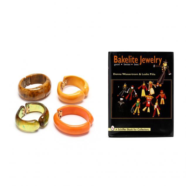 four-bakelite-clamper-bracelets-and-a-book-on-bakelite