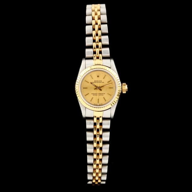 lady-s-stainless-steel-and-gold-oyster-perpetual-watch-rolex