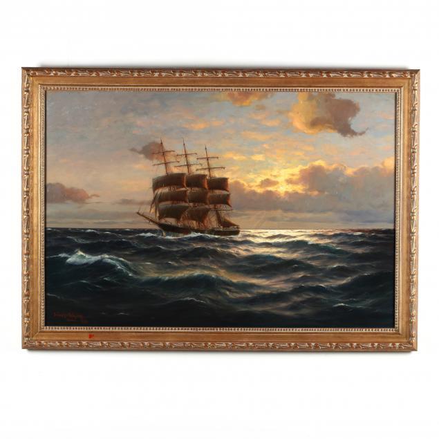 martin-franz-glusing-germany-1885-1956-ship-at-sunset