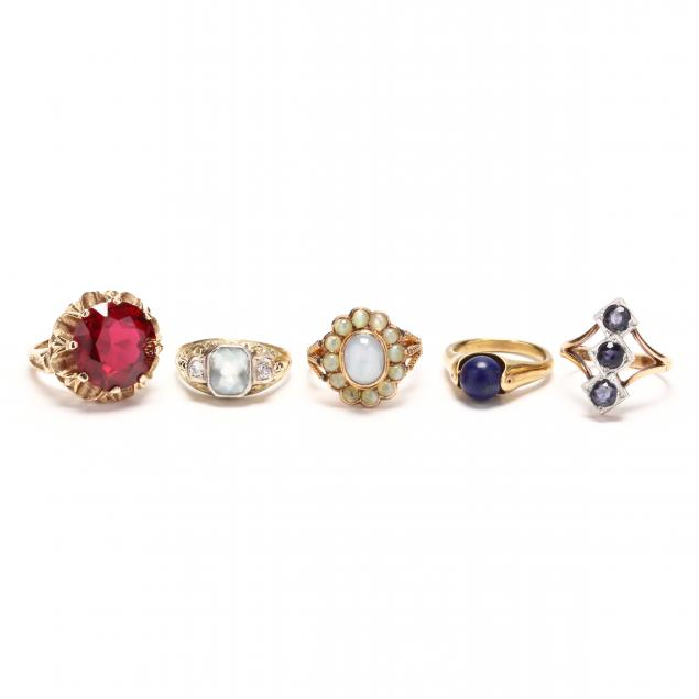 five-gold-and-gemstone-rings