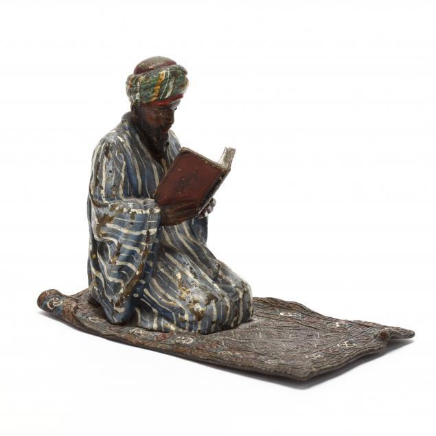 franz-bergman-cold-painted-bronze-bedouin-with-prayer-book
