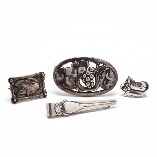 four-sterling-silver-jewelry-items-georg-jensen