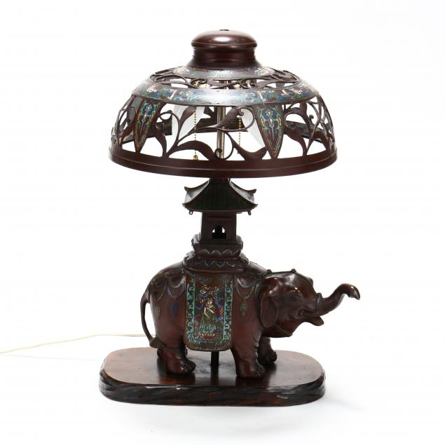 a-japanese-or-chinese-bronze-and-cloisonne-elephant-lamp