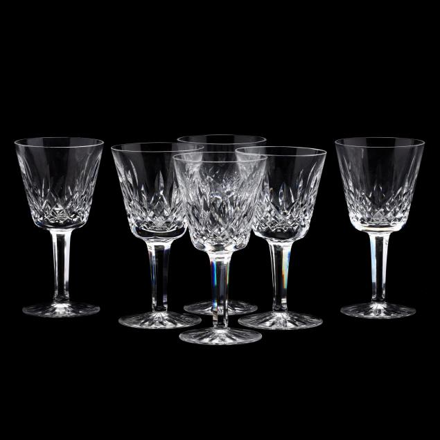 waterford-six-lismore-crystal-red-wine-stems