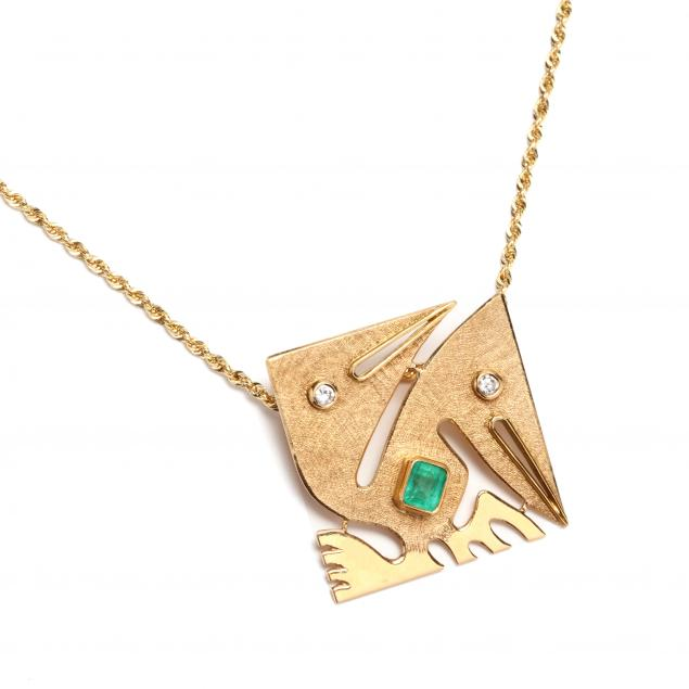 18kt-emerald-and-diamond-pre-columbian-motif-pendant-with-14kt-gold-chain