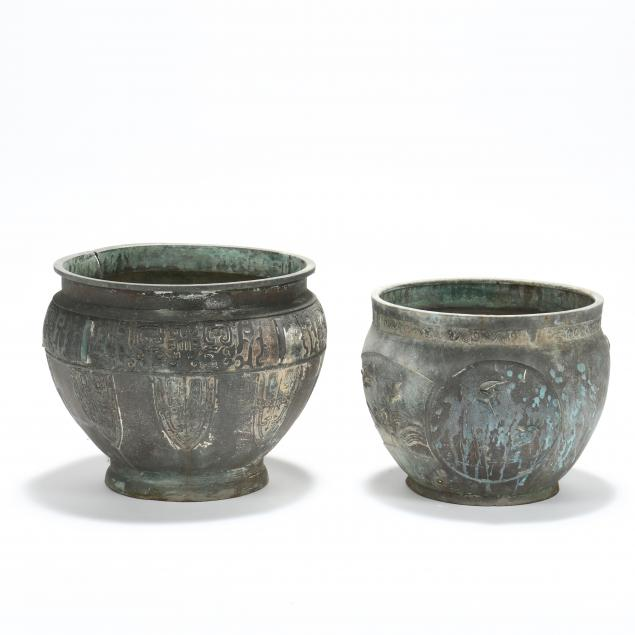 two-large-asian-bronze-planters